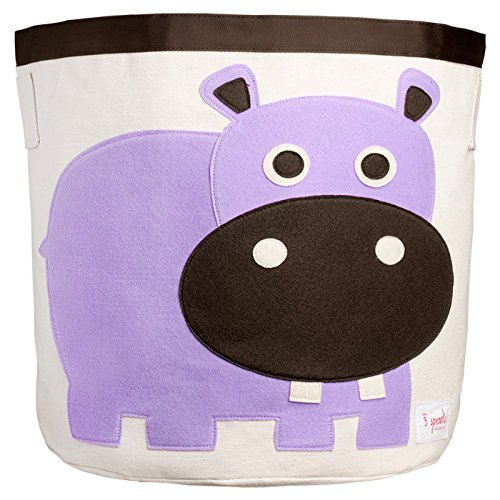 3 Sprouts Hippo Toy Storage Bin Container and Organizer for
