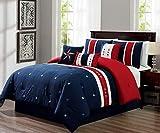 Cal King Vs Eastern King Size Kaputar 7-PC USA Flag Comforter Set Red-Blue- Patriot Bedding Set | Model CMFRTRSTS - 5128 | California King