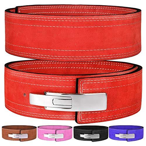"Hawk Sports Lever Belt 10mm Powerlifting Belt for Men & Women Buckle Strongman Power Weight Lifting Weightlifting Belts (Red, M (32""-38""))"
