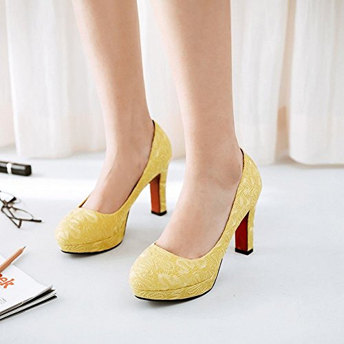 YE Damen Plateau Spitze Pumps Blockabsatz High Heels Geschlossen mit 9cm Absatz Elegant Schuhe Gelb