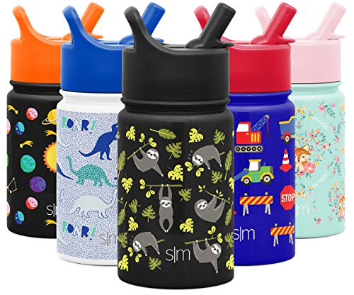 Simple Modern 10oz Summit Kids Water Bottle Thermos with Straw Lid - Dishwasher Safe Vacuum Insulated Double Wall Tumbler Travel Cup 18/8 Stainless Steel -Adventure Sloth
