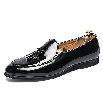 DADIJIER Zapatos de Cuero de Charol Oxford de Moda británica Informal de Metal para Hombre Zapatos