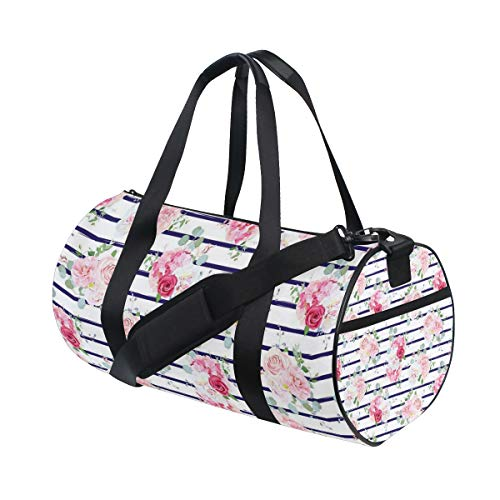 (YCHY Small Wedding Bouquets Red Pink Rose Water Resistant Gym Sports with independent zipper Travel Duffel Bag for Women and Men)
