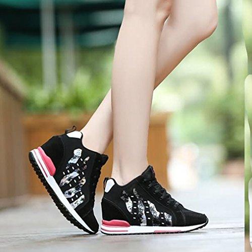 Sneakers Alte In Pelle Scamosciata Casual Da Donna, Sneakers In Pelle Scamosciata Con Zeppa Nascoste E Scarpe Sportive Nere