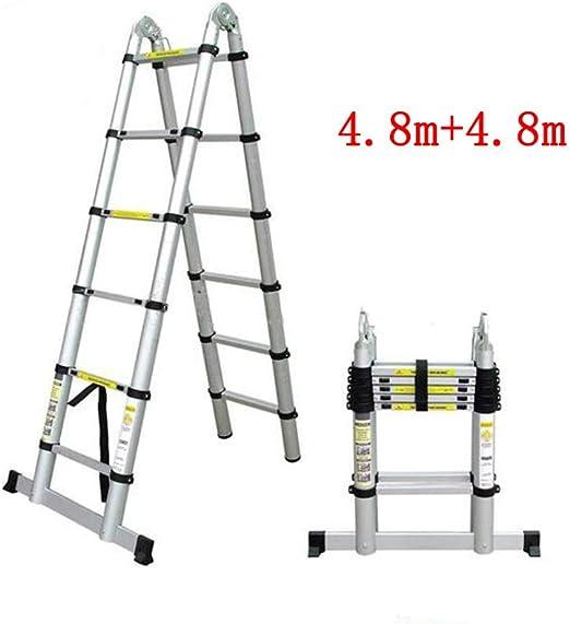 1058 YYHSND Escalera telescópica hogar portátil Escalera multifunción ático Proyecto Plegable bambú sección Espiga Escalera Doble Recta aleación de Aluminio Taburete (Size : 4.8m+4.8m): Amazon.es: Hogar