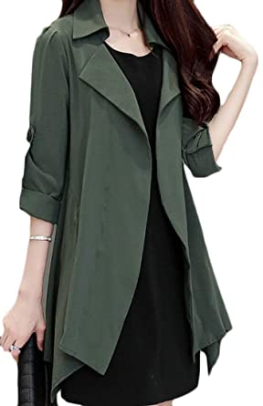 827535585a9 YYear Womens Basic Plus Size Lapel Open Front Solid Long Trench Coat Army  Green XS