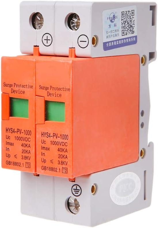 CADANIA HYS4 Protection Contre Les Surtensions SPD House DC Parafoudre Parafoudre 2 P/ôles 20KA ~ 40KA 500V