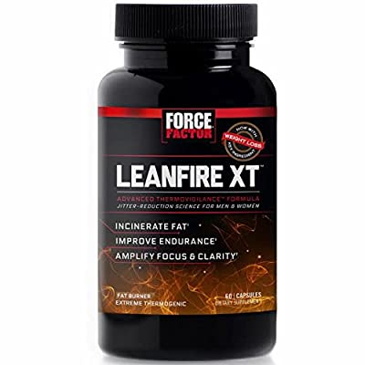 Force Factor LeanFire XT Thermogenic Fat Burner Weight Loss Supplement with Clear Energy, 60 Count