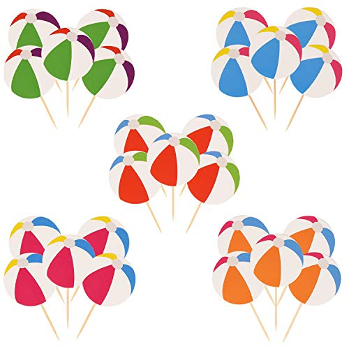 Topoox 40 Pieces Beach Ball Cupcake Topper Picks for Summer Birthday Party Decorations