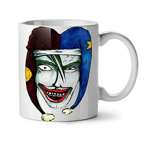 Smiling Scary Clown Joker Laugh White Tea Coffee Ceramic Mug 11 oz | Wellcoda (Scary Smiling Clown)