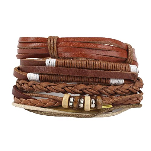 CLIDE + 4 Pcs Braided Leather Bracelet for men Cuff Wrap Bangles Wristbands Adjustable No.11
