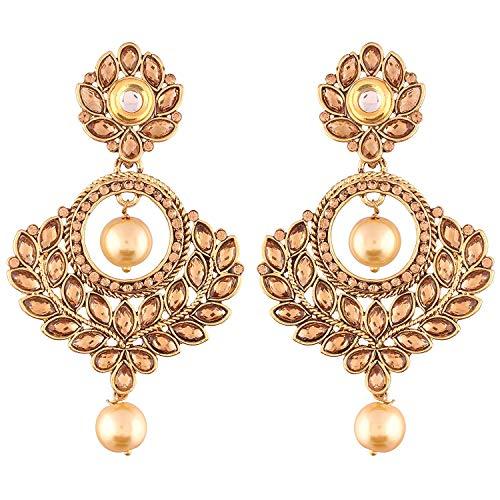 Aheli Classy Indian Traditional Jewelry Crystal Encrusted Pearl Chandbali Bollywood Party Wedding Wear Dangle Earrings for Women