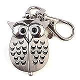 Fashion Steampunk Modern Silver Owl Bird Shape Pocket Key Chain Watch Quartz Clock Pendant Keychain Dial Watches