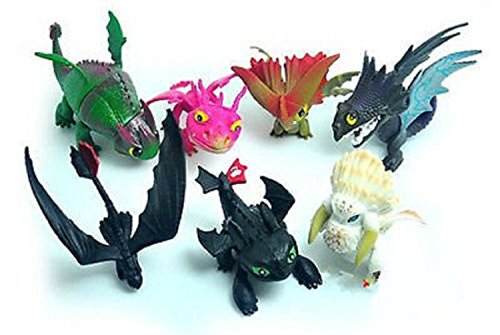 Max Fun Set of 7 Pcs How To Train Your Dragon Night Fury Toothless Action Figures Child Toys Xmas Gift Cake -