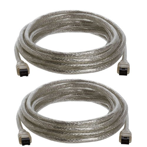 15-Foot IEEE-1394 9-Pin to 9-Pin FireWire 800/800 Cable Clear - Pack of TWO by Cmple