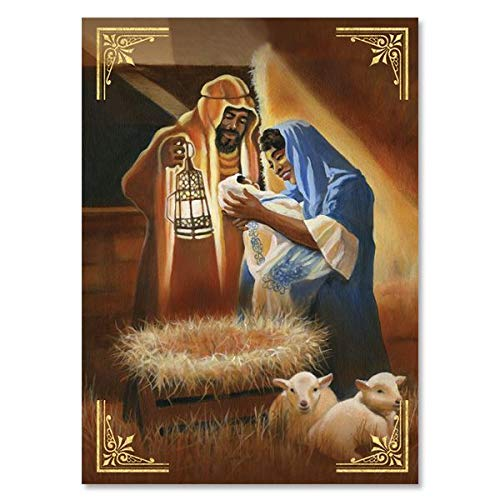 """Search : African American Expressions - Framed Nativity Boxed Christmas Cards (15 cards, 5"""" x 7"""") C-945"""
