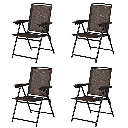 Goplus Sets of 4 Folding Sling Chairs Portable Chairs for Patio Garden Pool Outdoor & Indoor w/Armrests (Sling Set Patio)