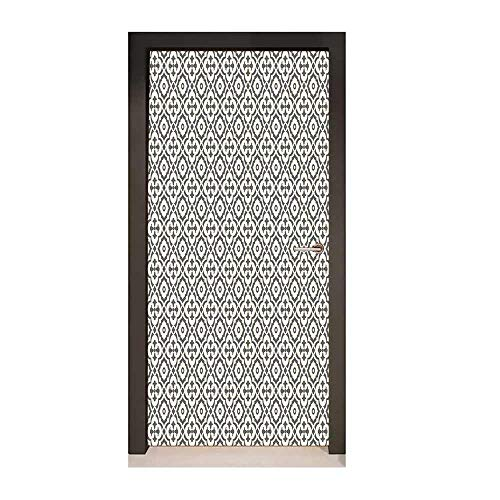Homesonne Quatrefoil Door Wallpaper Edwardian Style Vintage Tessellation Pattern in Plain Colors Rich Floral Motifs Art Door Decals Taupe Beige,W17.1xH78.7 -