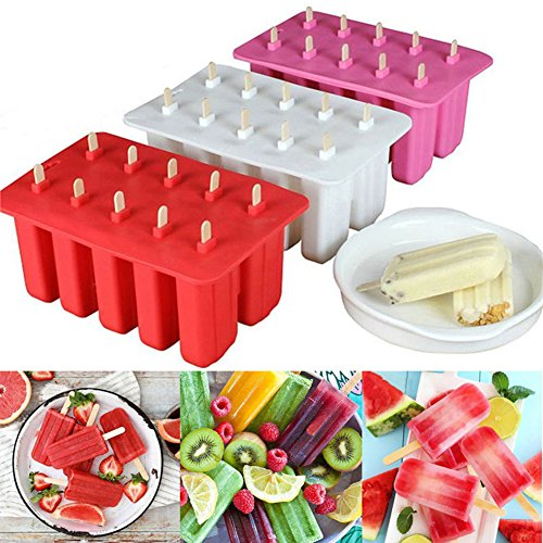 EDTara Ice Cream Mold Silicone Ice Cream Lolly Pop Maker Mould Popsicle Frozen,Ice Tray with Cover Lid,10 Cells by EDTara (Image #3)