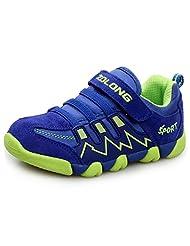 LONSOEN Boys Girls Athletic Velcro Strap Light Weight Running Sneakers Shoes(Toddler/Little Kid)
