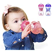 Nuby 2-Pack Designer Series No-Spill Clik-It Cups with Spout, 10 Ounce, Colors May Vary
