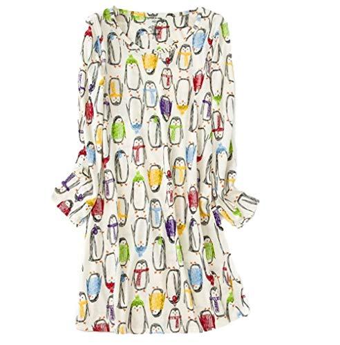 Amoy madrola Women's Nightgown Cotton Sleep Tee Nightshirt Casual Print Sleepwear XTSY109-Long Color Penguin-L