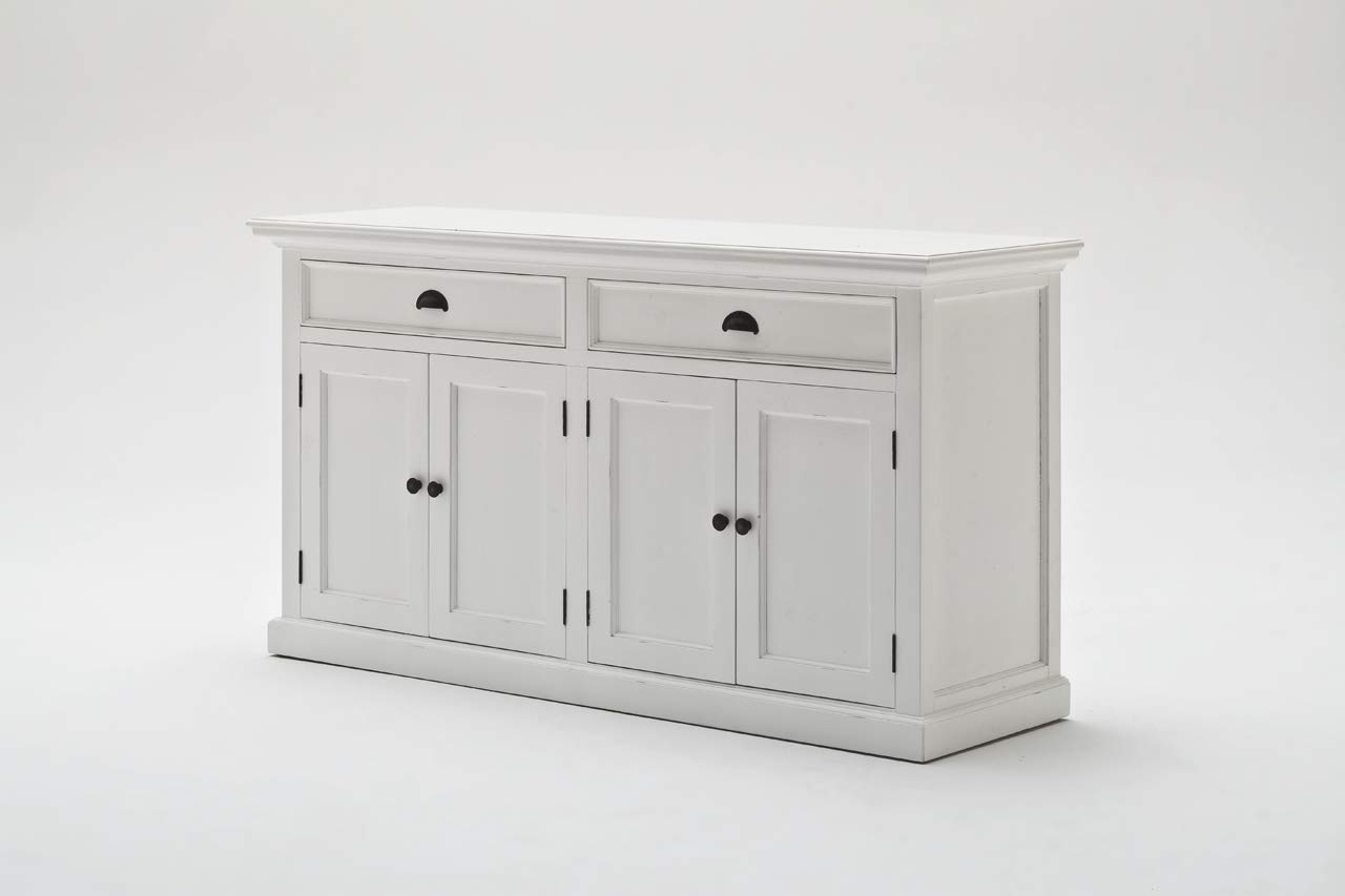 NovaSolo Halifax Pure White Mahogany Wood Sideboard Dining Buffet With Storage And 2 Drawers by NovaSolo