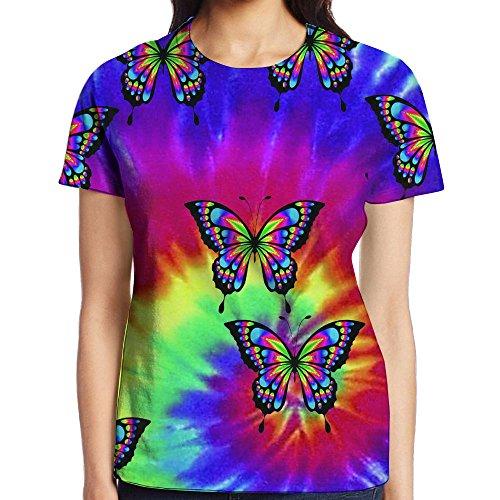 Tie-Dye Butterflies Graphic Summer O Neck Fashion Short Sleeve Top Best Gift For Women (Butterfly Tie Dye)