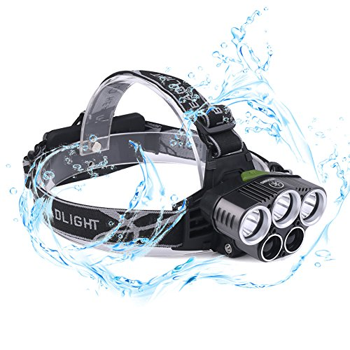 3t6 Flashlight - Headlamp LED Headlight, Justdoing Waterproof Super Bright Headlamp Flashlight Rechargeable, 6 Modes Headlights, CREE 3T6 Led Light +2Q5 for Camping, Running, Hiking and Reading(No Batteries Include)