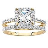 Solid 10K Yellow Gold Princess Cut Cubic Zirconia 2-Piece Bridal Ring Set Size 6