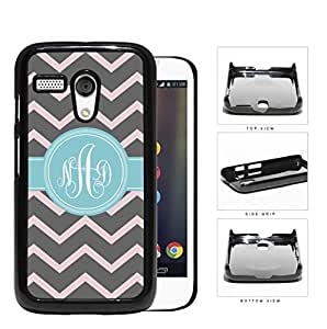 Gray And Pink Chevron With Light Blue Monogram (Custom Initials) Hard Plastic Snap On Cell Phone Case Motorola Moto G