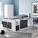 Mid Sleeper with Storage, Happy Beds Cookie White Charcoal Grey Multicolour Wood Modern Cabin Bed - 3ft Single (90 x 190 cm) with Spring Mattress Included