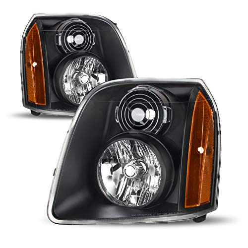 For GMC Yukon XL Hybrid OE Replacement Black Bezel Headlights Driver/Passenger Head Lamps Pair