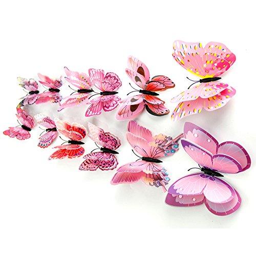 Hide on bush Pretty Wall Sticker, 12x 3D Butterfly Wall Sticker Fridge Magnet Room Decor Decal Applique Art Decor Home Art Kids Room Bedroom Decor (Pink)]()