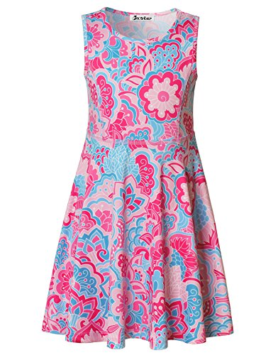 Jxstar Girls Bohemian Floral Dress Flowers Print Sleeveless Dress Boho Pink 160