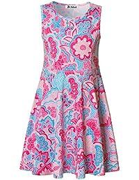 Girls Sleeveless Dress Printing Casual/Party 3-13 Years