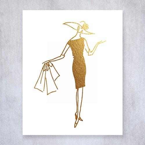 Shopping Gal Gold Foil Print Poster Shopper Lady Chic Girly Fashion Decor Unframed Wall Art 8 inches x 10 inches (Fashion Gal)