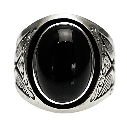 Epinki 925 Sterling Silver Punk Rock Vintage Gothic Eagle Black Onyx Ring for Men Size 7.5 by Epinki
