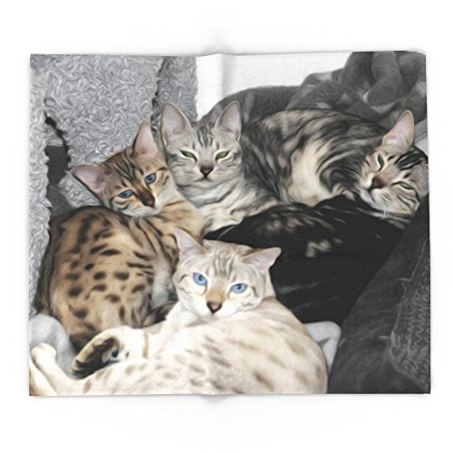 Society6 Bengal Cat Kitty Pile 88' x 104' Blanket