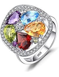 Women's 4.5ct Genuine Amethyst Garnet Peridot Blue Topaz Ring 925 Sterling Silver