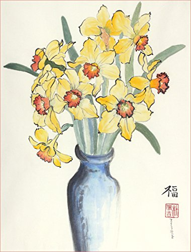 Daffodils in a Blue Vase, Print of Original Sumi-e Flower