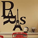 Witkey Paris with Eiffel Tower DIY Removable wall sticker Living room Art Vinyl Decal Mural Home Room