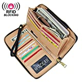 WOZEAH Women's RFID Blocking PU Leather Zip Around Wallet Clutch Large Travel Purse (black)