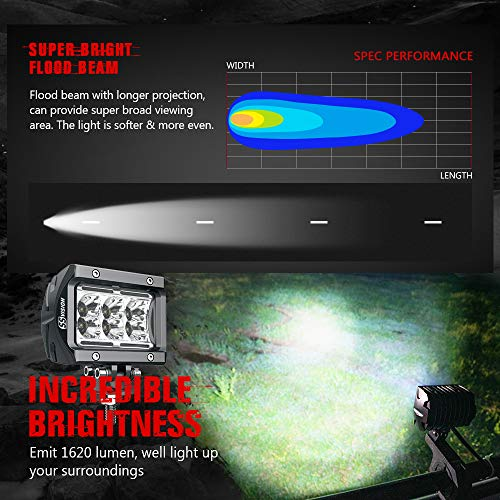 LED Pods SS VISION Unlimited-GO K1 Flood 4 Inch 18W 1620lm Off Road LED Light Bar 2Pcs White light Waterproof