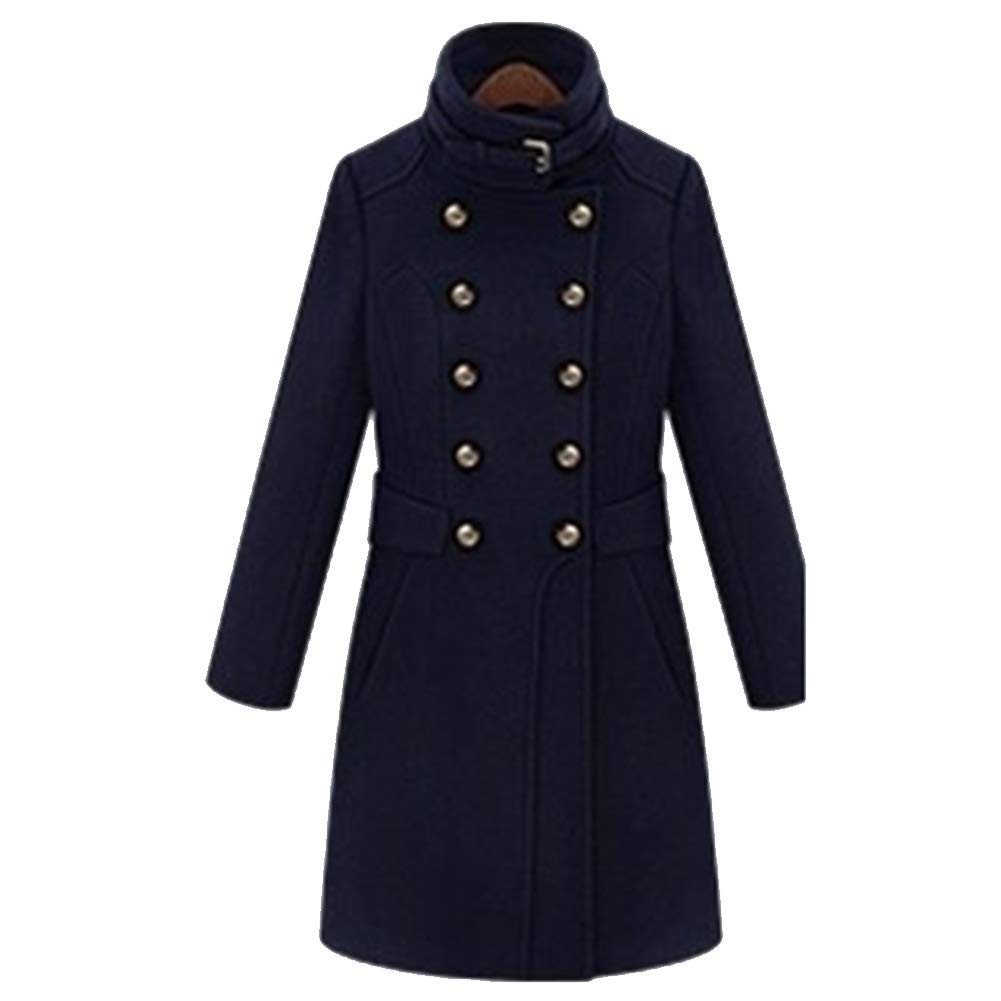 Ladies Coat Coat DoubleBreasted Slim Fit Autumn and Winter Hairy Long Section Windbreaker Slim Fit Slim Smooth,M