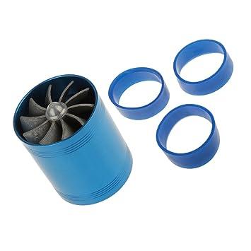 Qiilu Aluminum Car Air Intake Turbonator Dual Fan Turbine Super Charger Gas Fuel Saver Turbo Blue