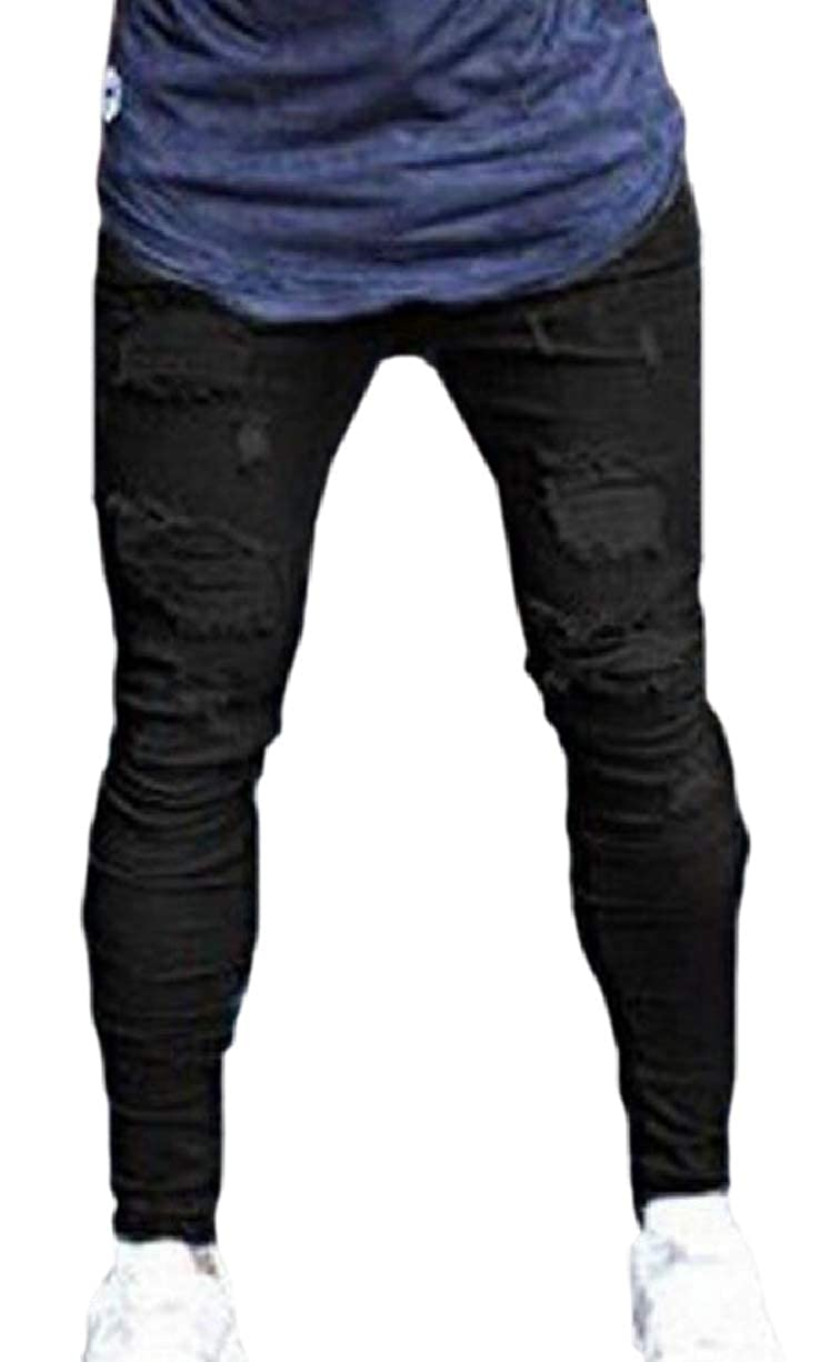 YIhujiuben Mens Distressed Destroyed Ripped Hole Moto Skinny Fit Holes Jeans Zipper Tousers