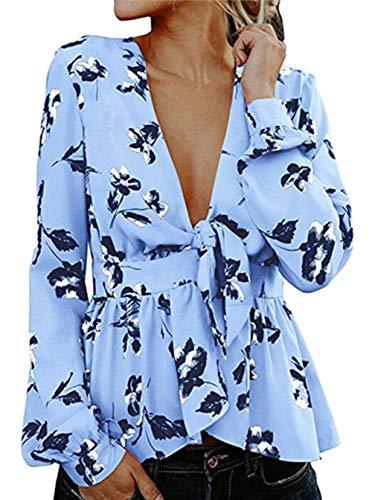 Scollo Stampa Sexy Floreale Signore a V Camicette Lunga della Allentato Camicia Chic Snone Donna da Cinghia con Elegante Profondo Stile retr Manica TUq7ZFAnZw