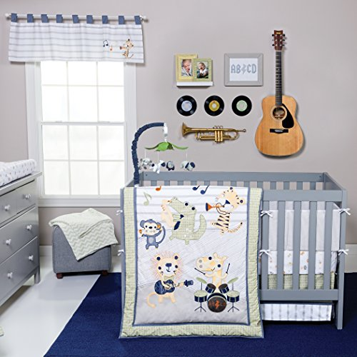 Trend Lab Safari Rock Band 6 Piece Crib Bedding Set, Green/Blue (Stores Little Mattress Rock)