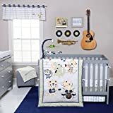 Trend Lab Safari Rock Band 6-Piece Crib Bedding Set, Green/Blue